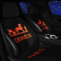 Luxury Hermes Paris Wool Velvet Auto Cushion Universal Car Seat Covers 11pcs Set - Black