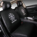 Luxury Leather Chrome Hearts Car Seat Covers Universal Automobile Seat Cushion 6pcs Sets - Black