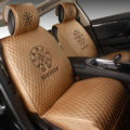 Luxury Leather Chrome Hearts Car Seat Covers Universal Automobile Seat Cushion 6pcs Sets - Gold