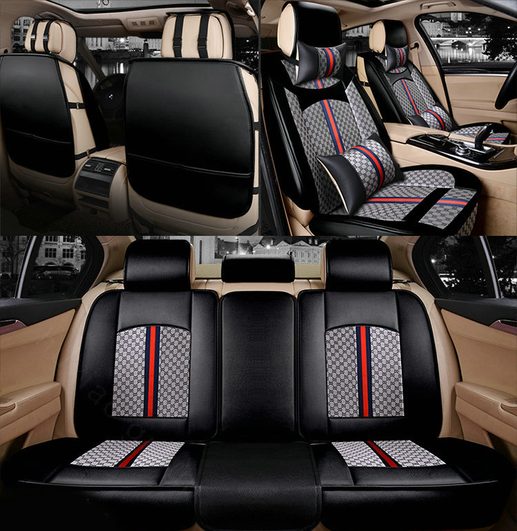 NAME:Luxury Leather GUCCI Print Car Seat Covers Universal Pads Automobile  Seat Cushions 6pcs   Black Ideas