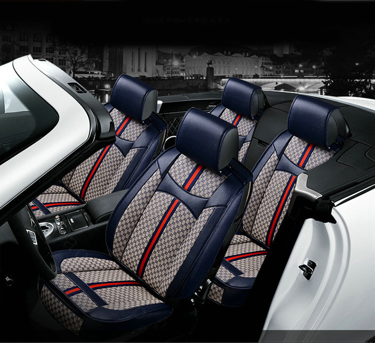 Delightful NAME:Luxury Leather GUCCI Print Car Seat Covers Universal Pads Automobile  Seat Cushions 6pcs   Blue Amazing Ideas
