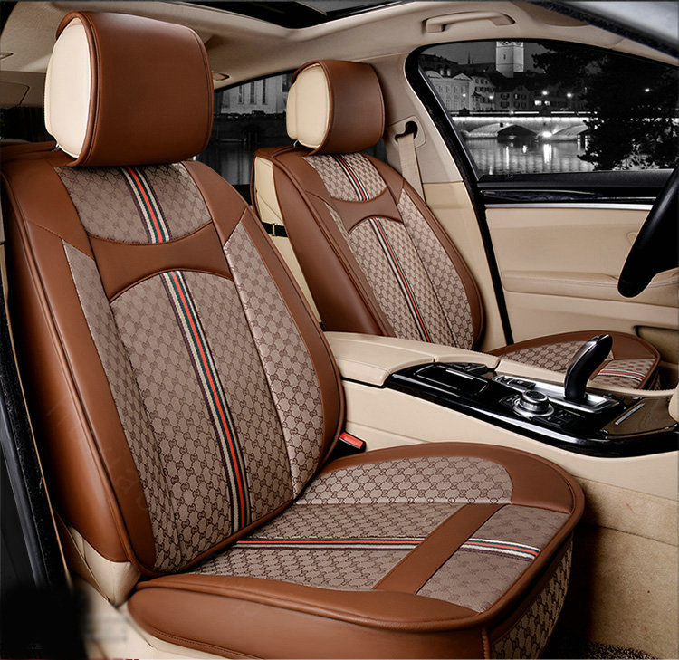 buy wholesale luxury leather gucci print car seat covers universal pads automobile seat cushions. Black Bedroom Furniture Sets. Home Design Ideas