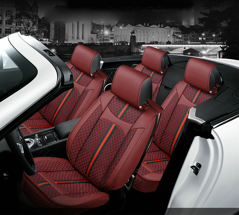NAME:Luxury Leather GUCCI Print Car Seat Covers Universal Pads Automobile  Seat Cushions 6pcs   Red Pictures Gallery