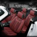 Luxury Leather GUCCI Print Car Seat Covers Universal Pads Automobile Seat Cushions 6pcs - Red