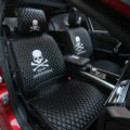 Luxury Leather MMJ Skull Car Seat Covers Universal Automobile Seat Cushion 6pcs Sets - Black