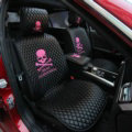 Luxury Leather MMJ Skull Car Seat Covers Universal Automobile Seat Cushion 6pcs Sets - Rose
