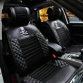 Luxury Leather Mastermind Skull Car Seat Covers Universal Automobile Seat Cushion 8pcs Sets - Black