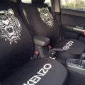 Luxury Paris Kenzo Universal Auto Seat Covers For Cars Cotton Full Set 10pcs - Black