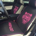 Luxury Paris Kenzo Universal Car Seat Covers Flax Silk Auto Cushion 5pcs Sets - Rose Black