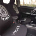 Luxury Versace Universal Auto Seat Covers For Cars Cotton Full Set 10pcs - Black