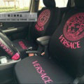 Luxury Versace Universal Auto Seat Covers For Cars Cotton Full Set 10pcs - Rose Black