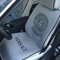 Luxury Versace Universal Car Seat Covers Flax Silk Auto Cushion 5pcs Sets - Gray