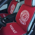 Luxury Versace Universal Car Seat Covers Flax Silk Auto Cushion 5pcs Sets - Red