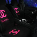 New Chanel Wool Velvet Auto Cushion Fashion Universal Car Seat Covers 5pcs Set - Rose Black