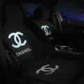New Chanel Wool Velvet Auto Cushion Fashion Universal Car Seat Covers 5pcs Set - White Black