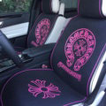 New Chrome Hearts Universal Car Seat Covers Flax Silk Auto Cushion 5pcs Sets - Rose Black