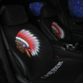Personalized Indians Wool Velvet Auto Cushion Universal Car Seat Covers 11pcs Set - Black
