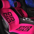 Popular GIVENCHY Silk Velvet Auto Cushion Universal Car Seat Covers 11pcs Set - Rose
