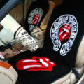Red Lips Chrome Hearts Thickened Wool Car Seat Cushion Free Tie Universal 5pcs Set - Black