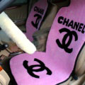 Romantic Chanel Thickened Wool Car Seat Cushion Free Tie Universal 5pcs Set - Pink