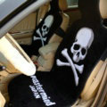 Skull Mastermind Thickened Wool Car Seat Cushion Free Tie Universal 5pcs Set - Black