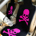 Skull Mastermind Thickened Wool Car Seat Cushion Free Tie Universal 5pcs Set - Rose Black