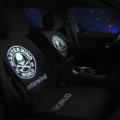 Skull mastermind World Silk Velvet Auto Cushion Universal Car Seat Covers 5pcs Set - Black