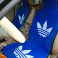 Top Grade Adidas Thickened Wool Car Seat Cushion Free Tie Universal 5pcs Set - Blue