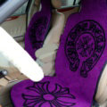 Top Grade Chrome Hearts Thickened Wool Car Seat Cushion Free Tie Universal 5pcs Set - Purple
