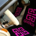 Top Grade Givenchy Thickened Wool Car Seat Cushion Free Tie Universal 5pcs Set - Rose Black
