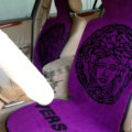 Top Grade Versace Thickened Wool Car Seat Cushion Free Tie Universal 5pcs Set - Purple