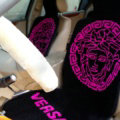 Top Grade Versace Thickened Wool Car Seat Cushion Free Tie Universal 5pcs Set - Rose Black