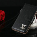 Top Mirror Louis Vuitton LV Patent leather Case Book Flip Holster Cover for iPhone 7 - Black