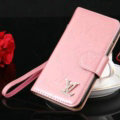 Top Mirror Louis Vuitton LV Patent leather Case Book Flip Holster Cover for iPhone 7 - Pink
