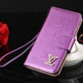 Top Mirror Louis Vuitton LV Patent leather Case Book Flip Holster Cover for iPhone 7 - Purple