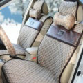 Trend GUCCI Print Jacquard Cloth Car Seat Covers Four Seasons General Seat Cushions 9pcs - Beige