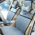 Trend GUCCI Print Jacquard Cloth Car Seat Covers Four Seasons General Seat Cushions 9pcs - Gray
