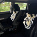 Unique Tiger Kenzo Thickened Wool Car Seat Cushion Free Tie Universal 5pcs Set - Black