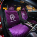 Winter Velvet Chrome Hearts Car Seat Covers Universal Plush Auto Seat Cushion 10pcs Sets - Purple