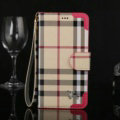 Burberry Pattern Flip Leather Cases Button Book Genuine Holster Cover For iPhone 7 Plus - Rose