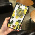 DG Crystals Leather Back Cover for iPhone 7 Plus Dolce Gabbana Flower Pattern Hard Case - Yellow