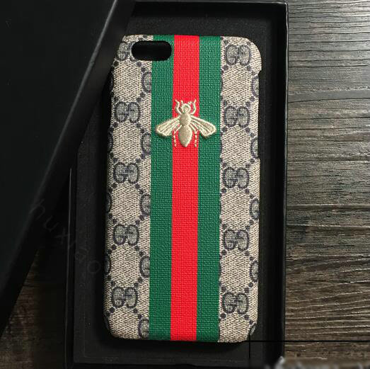 gucci iphone 7 case. name:gucci pattern embroidery honeybee leather case hard back cover for iphone 7 plus - gray gucci iphone