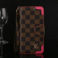 Louis Vuitton LV Flip Leather Cases Checks Pattern Button Holster Cover For iPhone 7 Plus - Rose