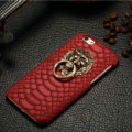 NPC Metal Lion Snake Print Leather Cases for iPhone 7 Plus PC Hard Back Support Covers - Red