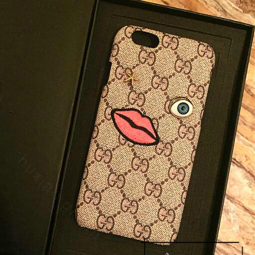 gucci 7 plus. name:personalized gucci pattern embroidery leather case hard back cover for iphone 7 plus - brown