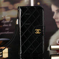 Best Mirror Chanel folder leather Case Book Flip Holster Cover for iPhone 7S - Black