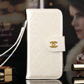Best Mirror Chanel folder leather Case Book Flip Holster Cover for iPhone 7S - White