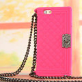 Classic Chanel Chain Handbag Silicone Cases For iPhone 7S - Rose