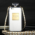 Classic Chanel Perfume Bottle Chain Silicone Cases for iPhone 7S - White