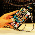 Classic Chanel Perfume Bottle Crystal Case Rhinestone Cover for iPhone 7S - Black